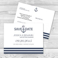 Nautical Save the Date Postcard Templates - Navy Anchor Stripes Printable Wedding Save the Dates - 5.5 x 4.25 Editable PDF Template