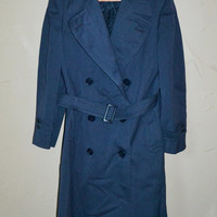 Vintage Trench Coat Blue Jacket Cosmopolitan Coat All Weather Jacket Mid Century Clothing Overcoat Size Medium