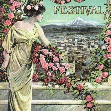 Portland, Oregon - Fifth Annual Rose Festival Advertisement (Art Prints available in multiple sizes)
