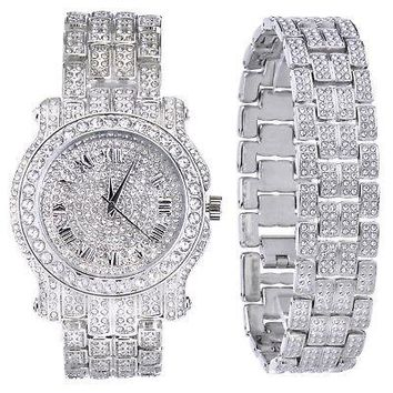 Jewelry Kay style Men's Fashion Analog Iced Out Stoned Heavy Watch & Bracelet SET WM 7341 + BR S