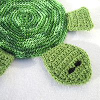 Turtle Pot Holder in Greens, Turtle Hot Pad, Turtle Trivet Crocheted by Charlene