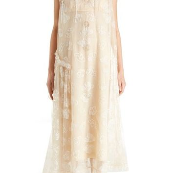 Simone Rocha Tinsel Embroidered Button Front Chiffon Dress | Nordstrom