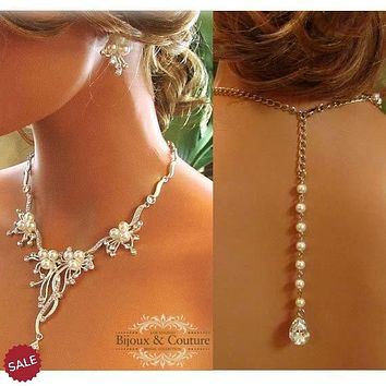 Vine Flower Bridal Pearl Drop Necklace and Earring Jewelry Set