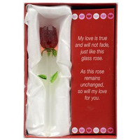 """Forever Glass Rose with Poem ~ Valentines Day or Special Occasion ~ Say I Love You with this Handmade Glass Roses with Love Poems 5"""" Boxed"""
