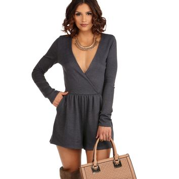 FINAL SALE- Seriously Charcoal Romper