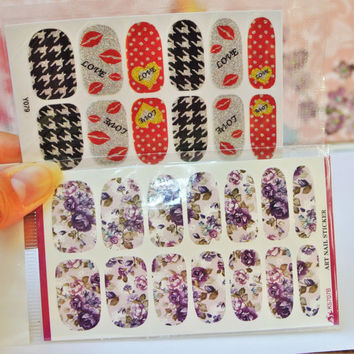 2 Packs Purple Roses Nail wrap, Houndstooth nail art, Red Lips Nail Decals, Heart, Dots, water Decals, Nail Design, Nail wraps, Decorations