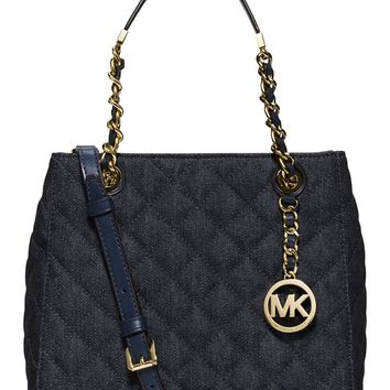 Michael Kors Susannah Small North South Tote Quilted Denim/Gold