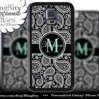 Monogram Black Paisley Galaxy S5 case S4 Mint Damask Personalized Name Samsung Galaxy S3 Case Note 2 3 4 Cover