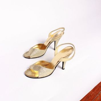 Gold Textured Slingback Heels / Size 7