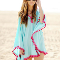 Blue Chiffon Bell Sleeve Shawl with Pom Decor