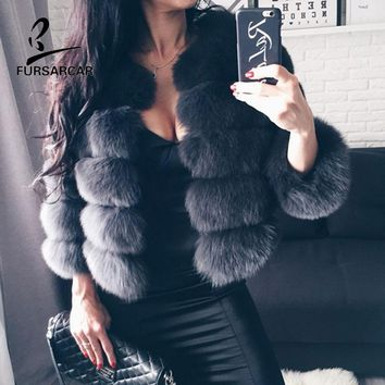 FURSARCAR Real Fur Jacket Coat Fox Fur Genuine Leather Coat High Quality Short Fox Fur Overcoat Winter Warm Women Fur Coat