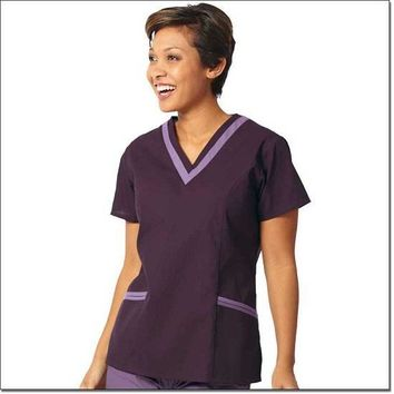 Fashions Seal Women's Fashion Poplin Double V-Neck Tunic - Eggplant with Plum