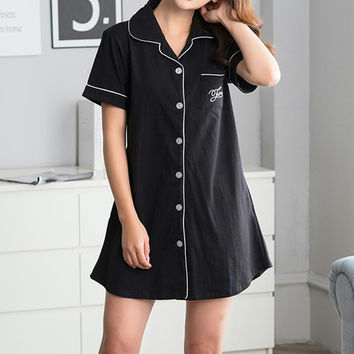 100%Cotton Turn-Down Collar Single-Breasted Shirt Women's Night Black Loose Nightgown Summer Indoor Clothing Female Sleepwear
