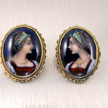 14K French Portrait Earrings, Ascione France Enamel Jewelry, Hand Painted French Enamel Cameo, Vintage Bridal Earrings
