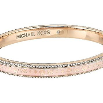 Michael Kors Heritage In Full Bloom Pave Rimmed Bangle with Floral Motif