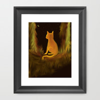 Tabby the Cat ponders if the Cow really Jumped over the Moon Framed Art Print by RokinRonda