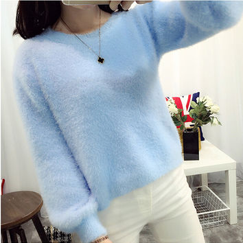 Mohair Sweater Women Winter Casual Lantern Sleeve Loose Pullover Female Fluffy Shaggy Warm Cashmere Knitted Sweater Pink White