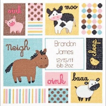 "Barn Babies Birth Record (14 Count) Dimensions/Baby Hugs Counted Cross Stitch Kit 12""X12"""