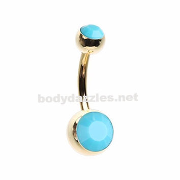 Golden Turquoise Double Ball Inlay Belly Button Ring 14ga Navel Ring Surgical Steel Body Jewelry