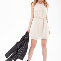 FOREVER 21 Pleated Chiffon Dress Taupe