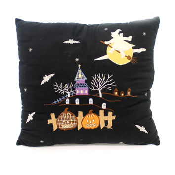 Halloween Flying Witch Over Moon Pillow Halloween Accent Pillow