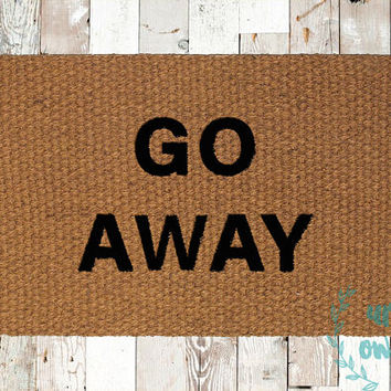 Go Away Coir Doormat, Decorative Area Rug, Hand Painted Hand Woven, Housewarming Gift