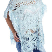 Q2 Blue Open Knit Poncho Cape