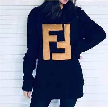Fendi Women Round Neck Top Pullover Sweatshirt