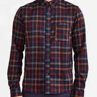 Native Youth Twill Checked Flannel Button-Down Shirt