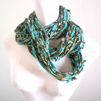 Turquoise Infinity Scarf Eco Friendly Brown Yellow Tribal Stripes Spring Fashion Tropical Blue Circle Scarf Upcycled Clothing