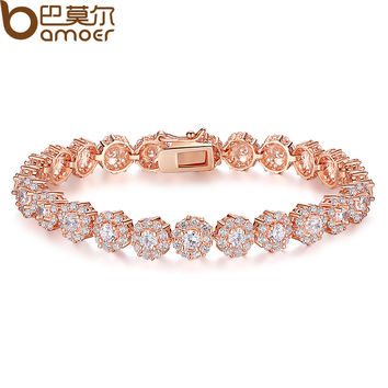 BAMOER 7 Colors 18K Rose Gold Plated Chain Link Bracelet for Women Ladies Shining AAA Cubic Zircon Crystal Jewelry Gift  JIB012
