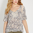 peasant top with crochet in floral print