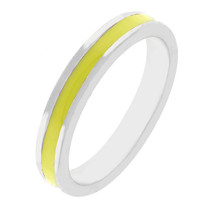 Yellow Enamel Eternity Ring, size : 07