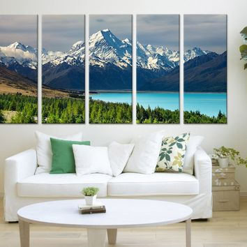 Large Art Print Mount Cook, New Zealand Wall Art Canvas Print, Lake and Mountains Large 5 Panel Canvas Print, Eventide Yellow Trees - MC113