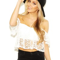 West Coast Wardrobe  Heidi Lace Off the Shoulder Crop Top In Off White
