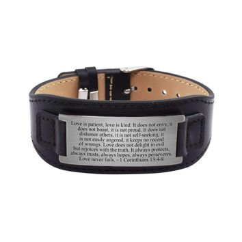 Mens Genuine Leather Scripture Bracelet - 1 Corinthians 13:4-8