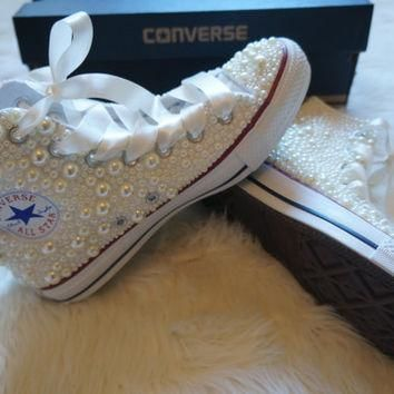 Off White Pearl Wedding, Bride, Bridesmaid, Prom, sweet 16 Crystal Converse - FREE USA