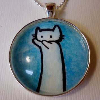 Long Cat Internet Meme In Blue Original by cellsdividing on Etsy