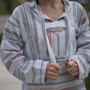 Baja Hoodie Drug Rug Mexican Poncho Pullover Jacket Hippie Striped Woven Eco Friendly Hoodie - El Gringo Baja