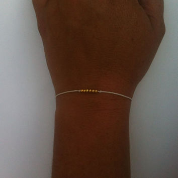 Perfectly Petite Single Strand Leather and Beads Gold or Silver You Choose Color Free Shipping