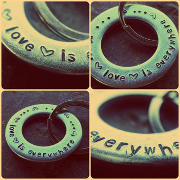 Love is everywhere handmade metal stamping keychain or zipper charm