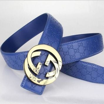 DCCK2 GUCCI Woman Men Fashion Belt Leather Belt Blue Tagre-