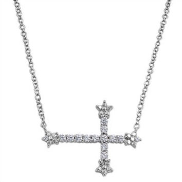 Sterling Silver and CZ Sideways Cross Necklace