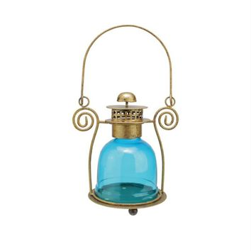 "7.5"" Decorative Blue Glass Bell Tea Light Candle Holder Lantern"