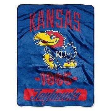 Kansas KU Jayhawks 46x60 Varsity Design Micro Raschel Plush Throw