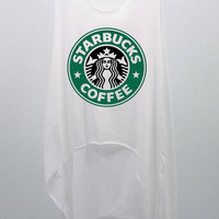 STARBUCKS - Coffee  Tank Top Midriff Crop Top women handmade silk screen printing