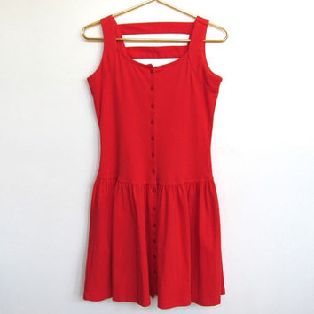 Vintage 1990s South Beach / Sleeveless Red Button-down Mini Dress / Cut Out Back / Festival Sundress