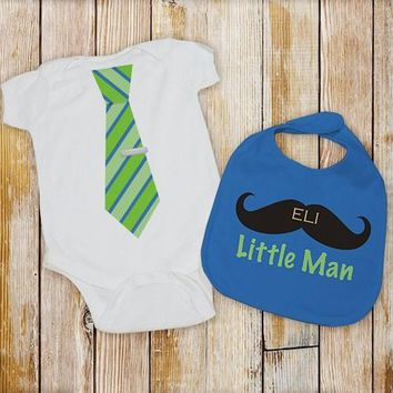 Personalized Little Man Bib and Onesuit Set