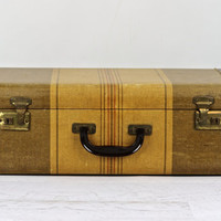 Suitcase, Tweed Striped Suitcase, Luggage, Vintage Suitcase, Old Suitcase, Old Luggage