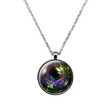 Dreamscape Portal- Necklace Jewelry stainless steel casing crystal glass pendant with colorful dreamy portal print.